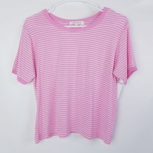 Pink /White Striped Ultra Soft Stretchy Tee